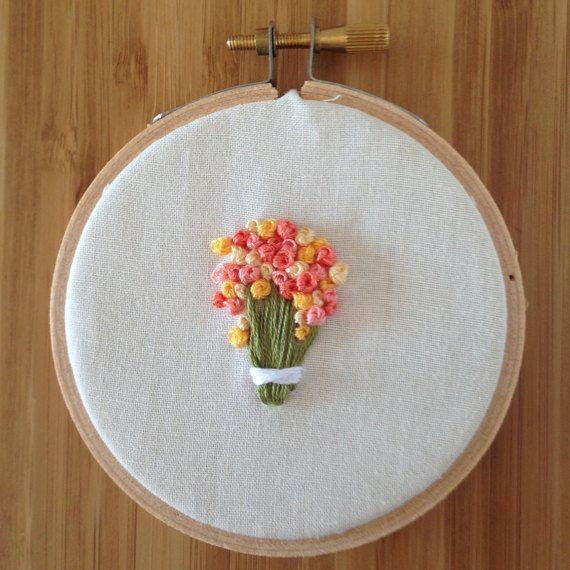French Knot Flower Bouquet 3 Embroidery Hoop Art by fieldsofknots