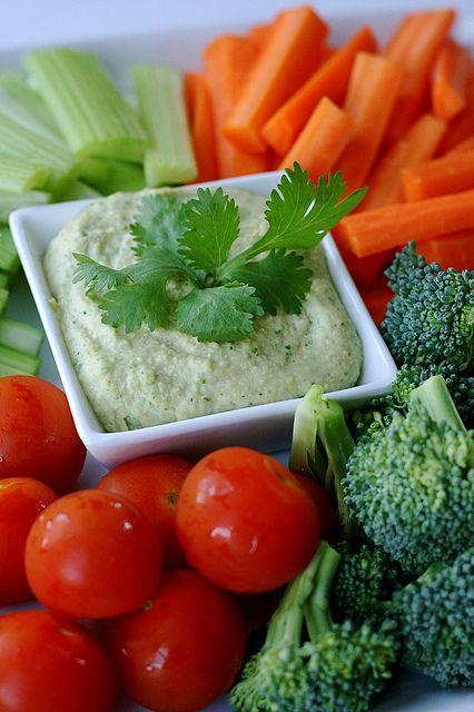 cilantro jalapeno hummus-added extra salt and lemon juice. Great with veggies!