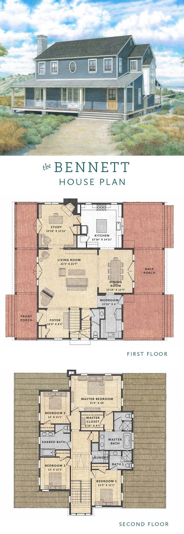 4657 best home floorplan images on pinterest house floor plans the bennett house is a 4 bedroom transitional farmhouse house plan with an open floor plan