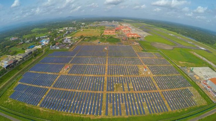 India's Cochin International Airport is set to become the first in the world powered entirely by solar, with the company forecasting a 300,000-tonne (330,700-ton) reduction in carbon emissions over the next 25 years as a result.