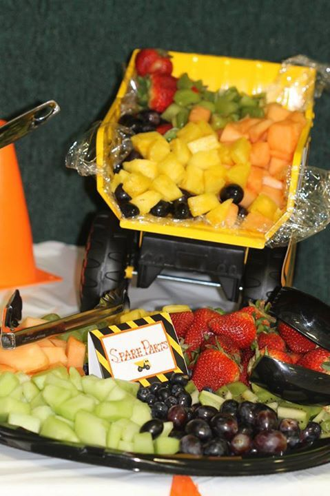 Baby under construction themed baby shower - fruit as spare parts