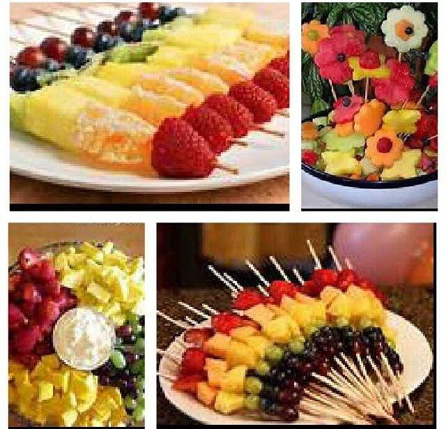 Pretty DIY Fruit Kebabs / Displays For Gaye Holud Or