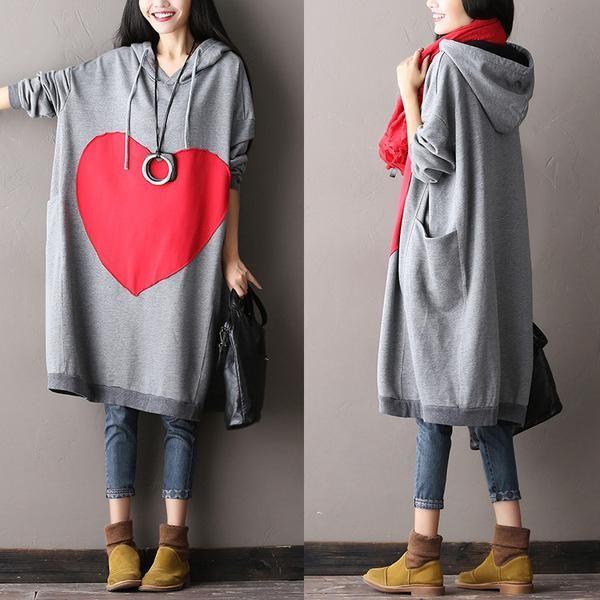 Women Plus Size Cotton Gray Dress