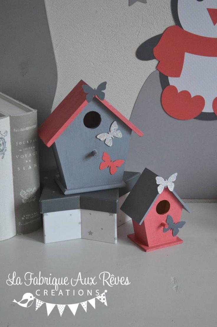 En Stock - lot 2 Nichoirs oiseaux maisonnettes cages à oiseaux corail argent et gris - décoration chambre enfant bébé corail