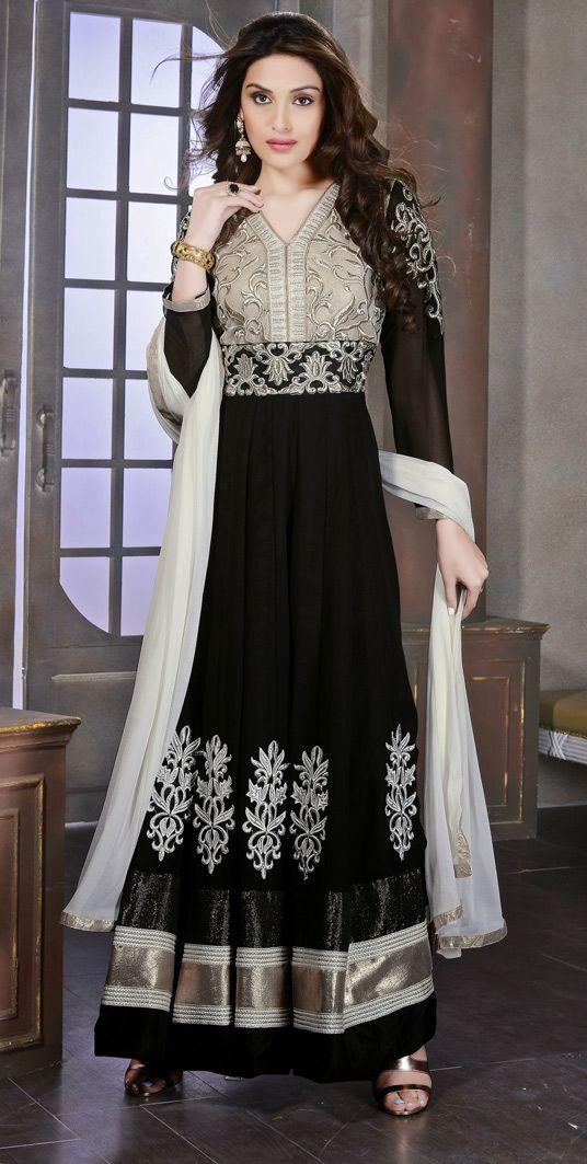 USD 49.52 Black Georgette Ankle Length Anarkali Suit 47528