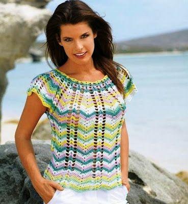 A ARTE DE FAZER CROCHE: .::PONTOS DA ANA::.: Blusa em crochê ripple ou zigue zague para o verão...