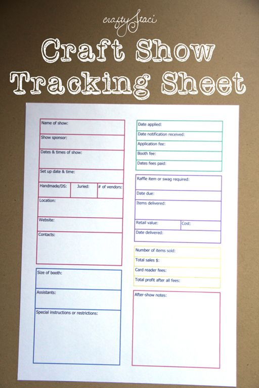 Craft Show Tracking Sheet - organize all of the information for each of your shows in one place