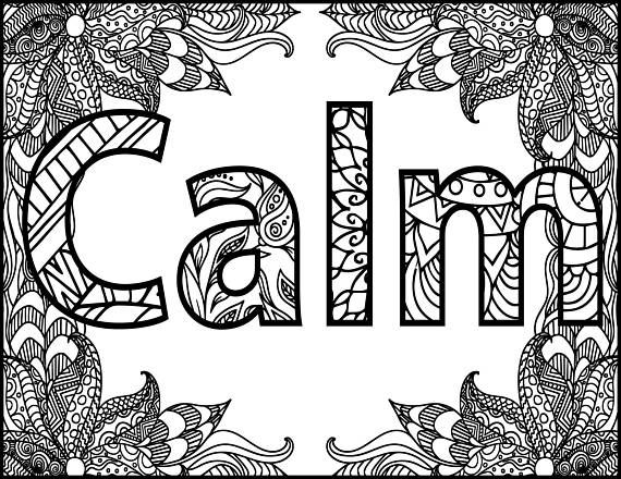 Positive Word Coloring Page Calm Positive Adult Coloring Page