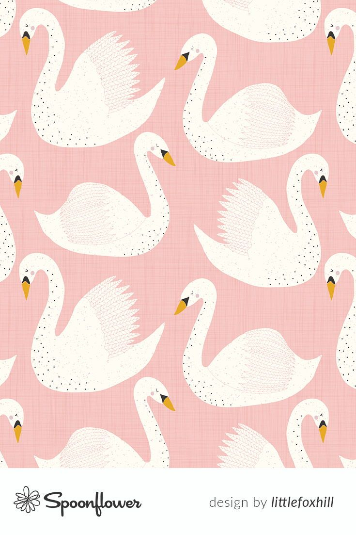 Colorful fabrics digitally printed by Spoonflower   swimming swans