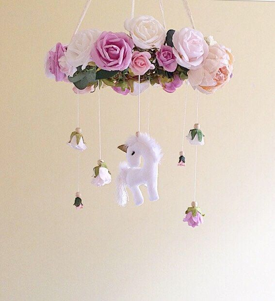 Baby mobile- unicorn baby mobile- floral mobile- nursery mobile- unicorn nursery mobile- baby girl mobile- floral chandelier unicorn mobile by thepoppettree on Etsy https://www.etsy.com/listing/518339599/baby-mobile-unicorn-baby-mobile-floral