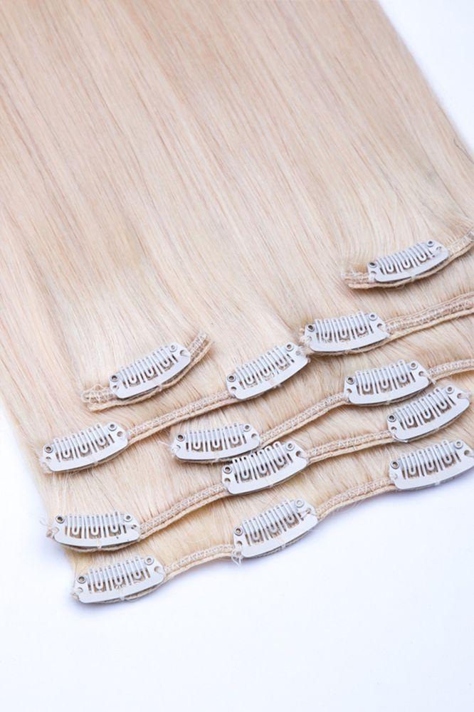 Clip-In Extensions bestehen aus 100% Echthaar und sind in nur wenigen Schritten angebracht, jeder kann sie selbst einarbeiten. Die Haarteile bestehen aus hochwertigem Remy Echthaar und sind an der Rückseite mit Clips versehen. Wir bieten die Extensions von 35 cm bis 80 cm Haarlänge an. Diese werden in die eigenen Haare eingeclipt, genauso schnell sind sie wieder entfernt. | eBay!