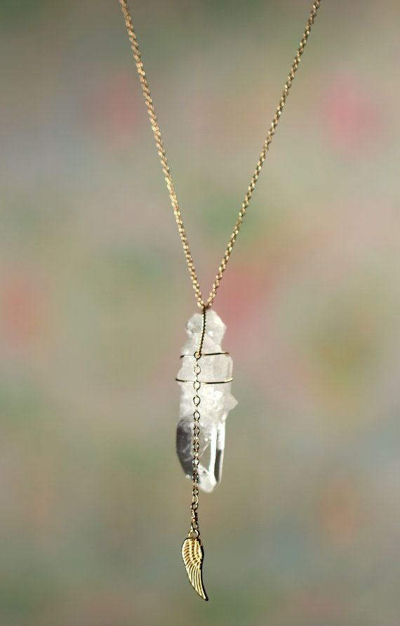 Quartz crystal necklace - gold wing crystal - a raw quartz wand wire wrapped into a 14k gold filled chain