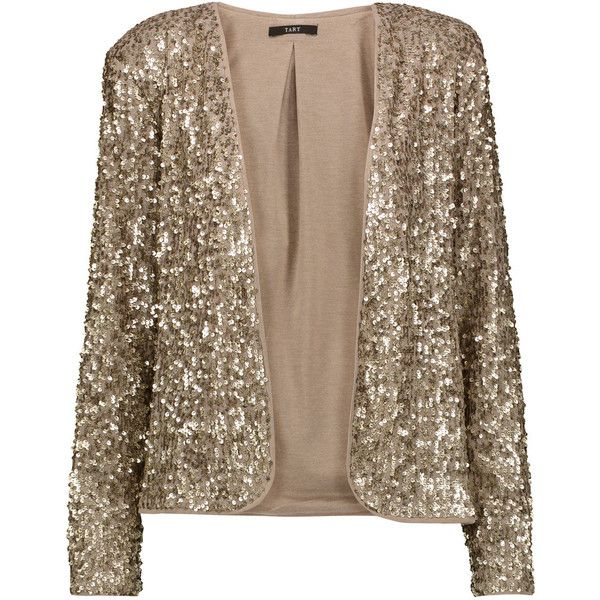 Tart Collections - Dominique Sequined Georgette Blazer found on Polyvore featuring outerwear, jackets, blazers, gold, draped jackets, open front jacket, jersey blazer, draped blazer and blazer jacket