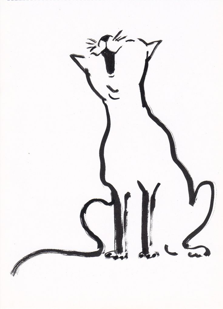 "Singing Cat Illustration Postcard  Lalala.. From the book ""Cats as Cats Can"" (Roberts Rinehart, 1997) Copyright Diogenes Verlag Illustration by Tomi Ungerer (b. Alsace, 1931)"