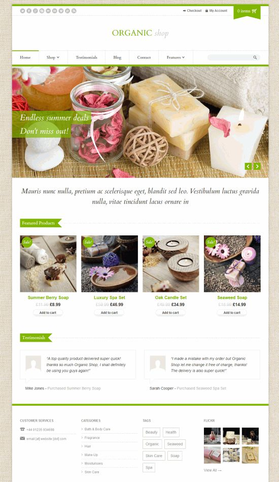 Organic Shop - адаптивный WooCommerce шаблон  для WordPress