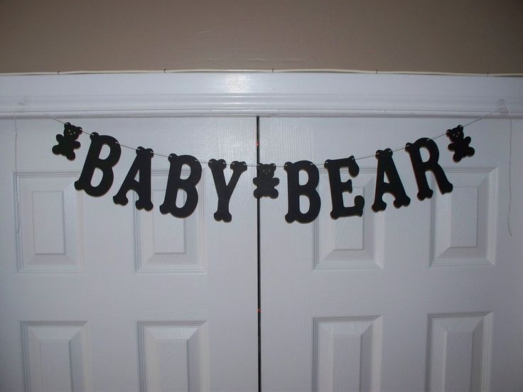 BABY BEAR Letter Banner - Black Banner Sign - Hanging Wall Decor - Teddy Baby Shower Decoration - Birthday Party by BBGarlands on Etsy https://www.etsy.com/listing/277092928/baby-bear-letter-banner-black-banner