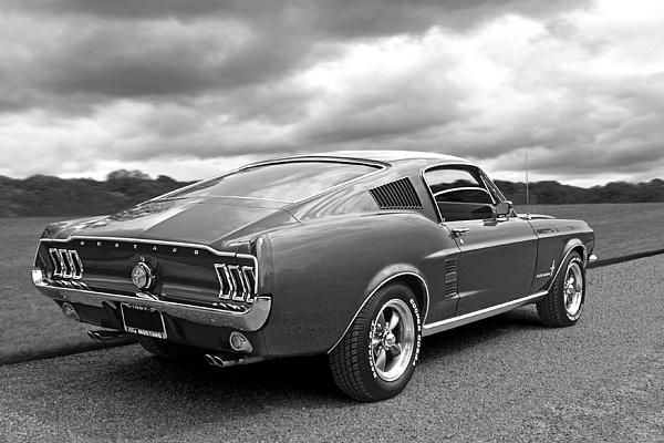 Classic 1967 Fastback Ford Mustang in black and white a great