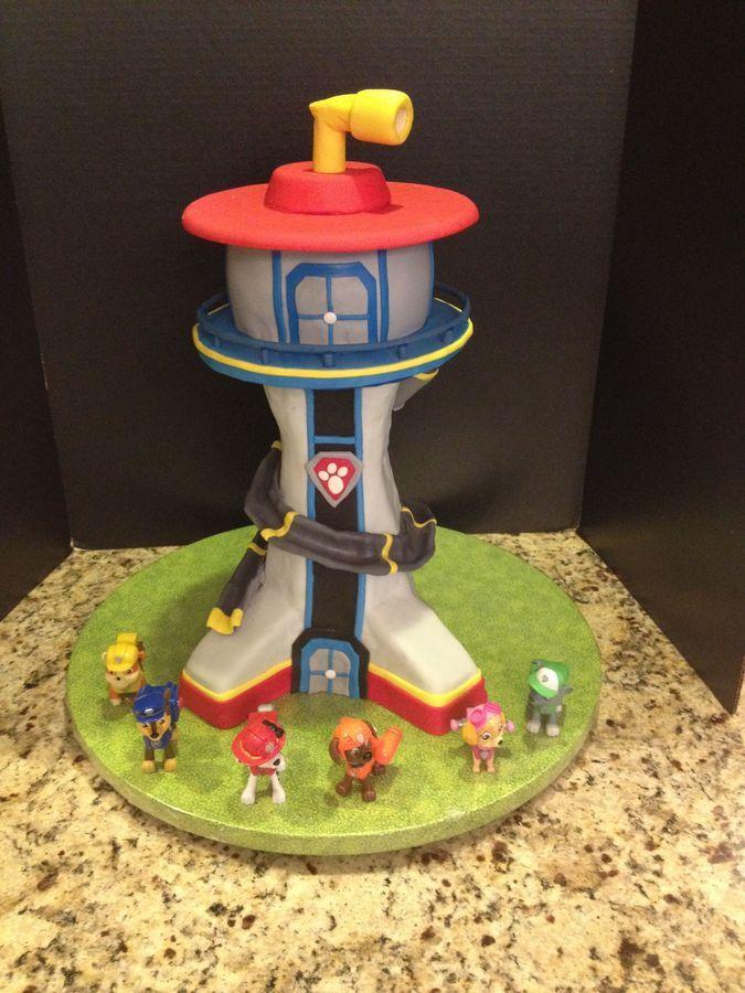 Paw patrol lookout tower, bottom is Rice Krispie treats, top is cake