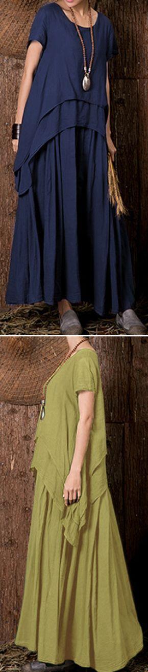 US$ 22.67 Gracila Layered Irregular Loose Short Sleeve O-neck Maxi Dress For Women