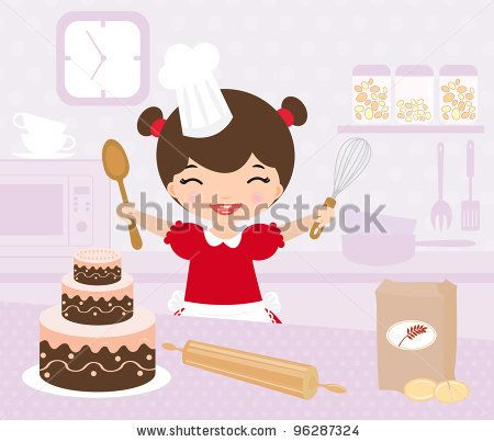 Cute little girl baking in the kitchen - stock vector