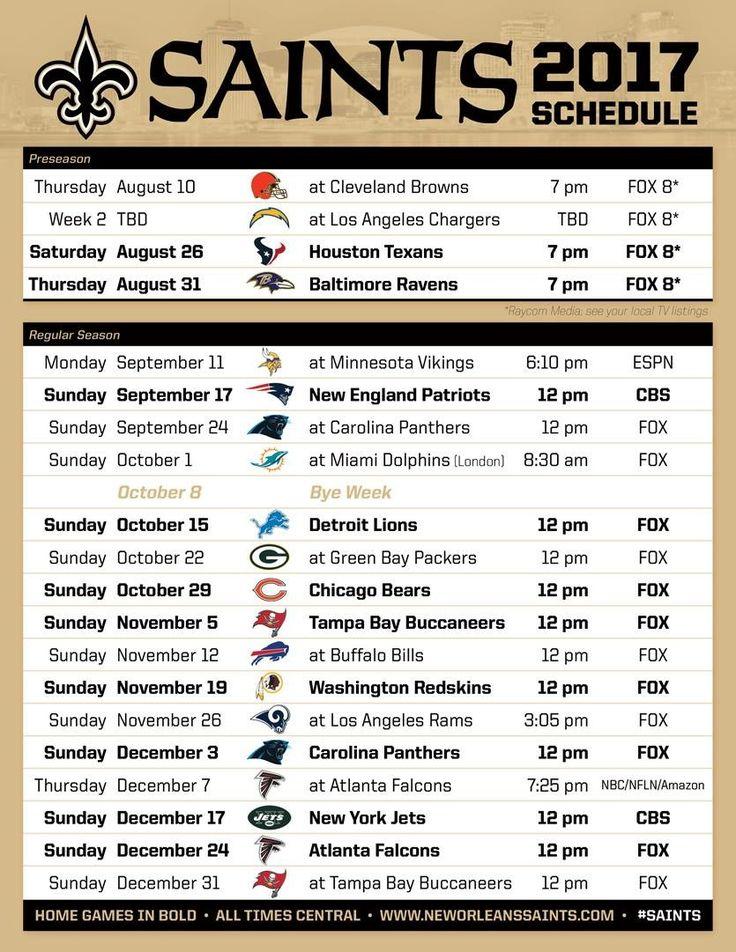 2017 New Orleans Saints Schedule!