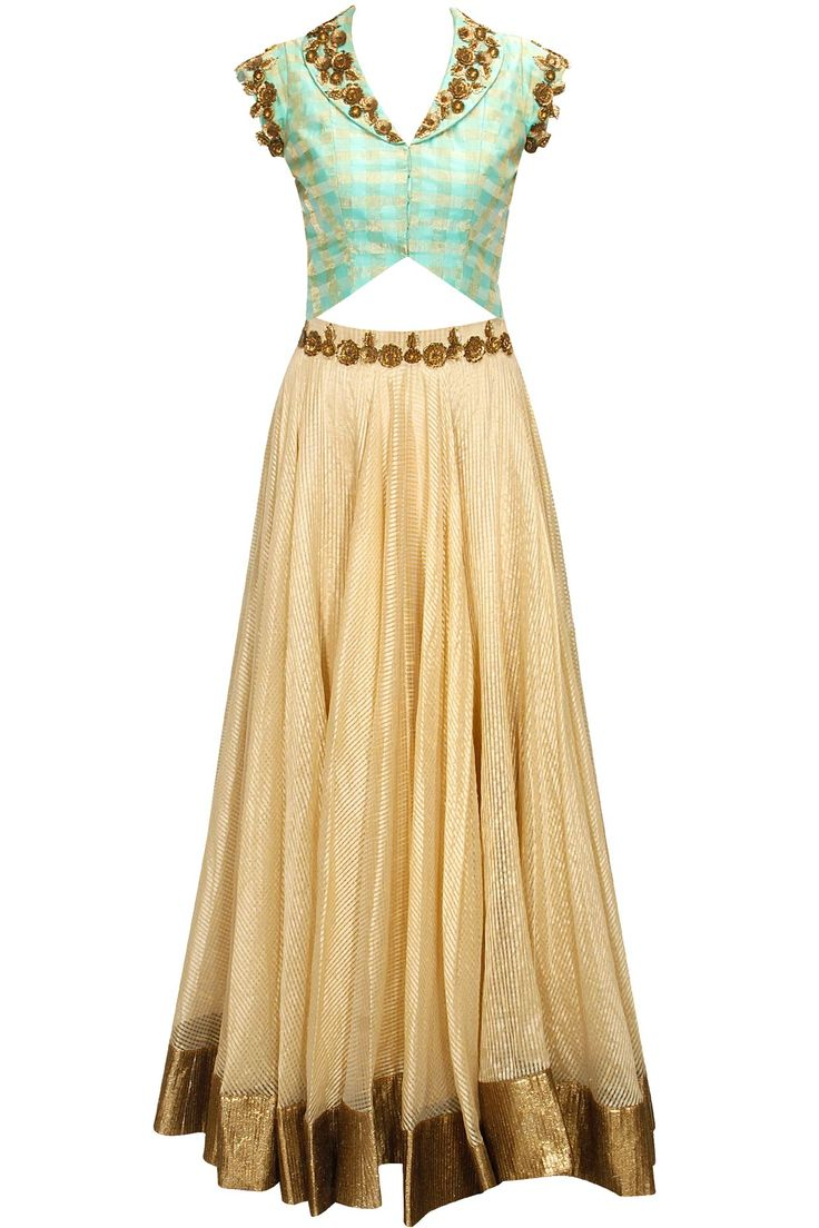 Sea green and gold floral sequins embroidered lehenga set by Pranthi Reddy. Shop now: http://www.perniaspopupshop.com/designers/pranthi-reddy #lehenga #pranthireddy #shopnow #perniaspopupshop