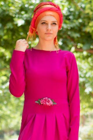 Aynil Moda Çiçekli Elbise Fuşya