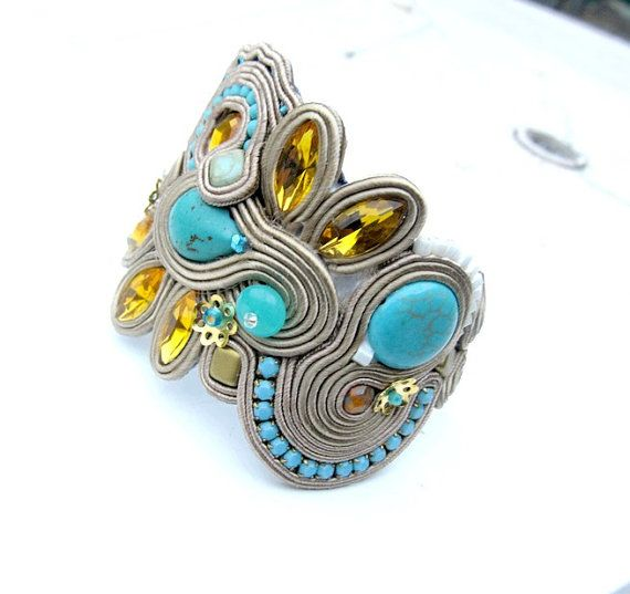 Beige Bracelet Soutache Cuff Embroidered Jewelry by IncrediblesTN, $99.00