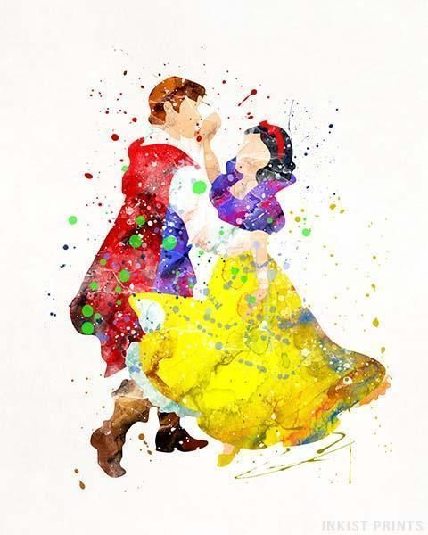Snow White and Prince Florian Disney Watercolor Print. Prices from $9.95. Available at InkistPrints.com - #disney #watercolor #babyart #decor #nurseryart #SnowWhite