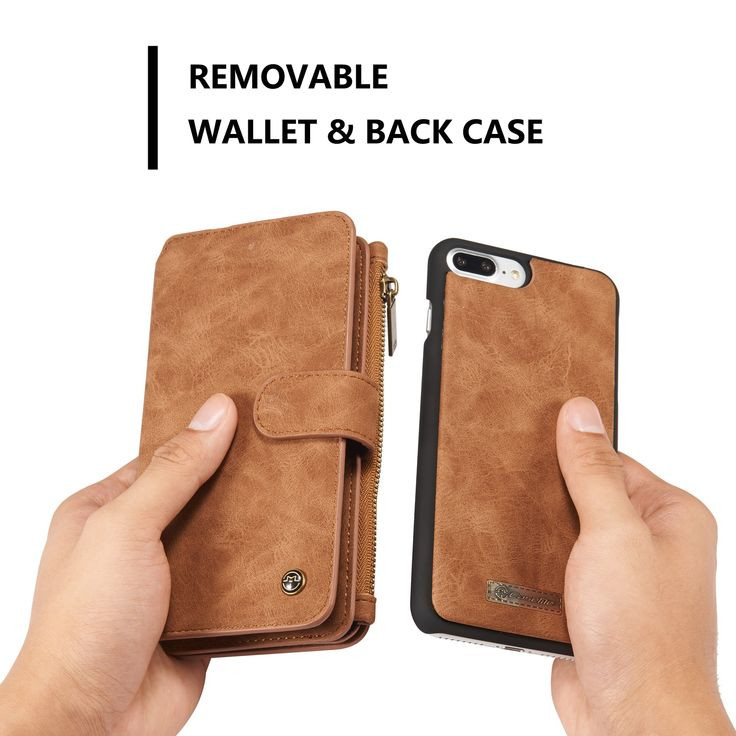 CaseMe Magnetic Detachable Zipper Wallet Case For iPhone 7 Plus/8 Plus
