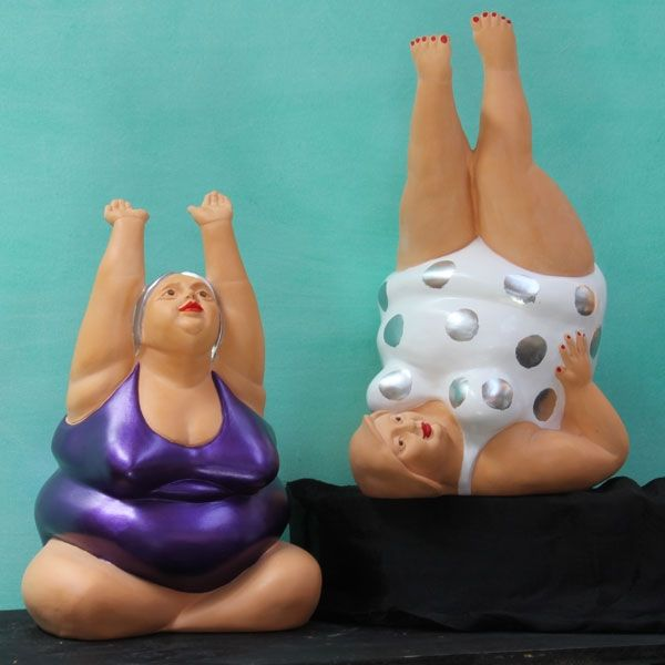 Big Girls Yoga - Terracotta - Products - whimsical sculptural forms in terracotta and bronze for practical and decorative use.