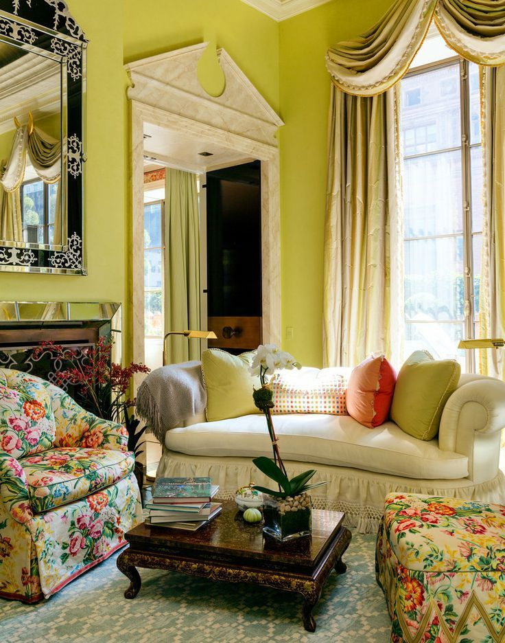 Mario Buatta and chintz Lime green room