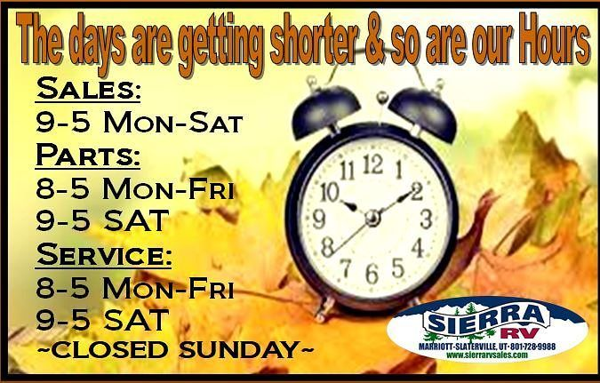 #SierraRVSales is switching to our Winter Hours beginning Monday November 6th!  Where we are always here to help meet all of your RV Parts Service and Sales needs. Come in and see us &  Shop online anytime at: http://ift.tt/2j27ea5 #BestPeopleBestProductBestPrice #rvfun #getout #beutahful