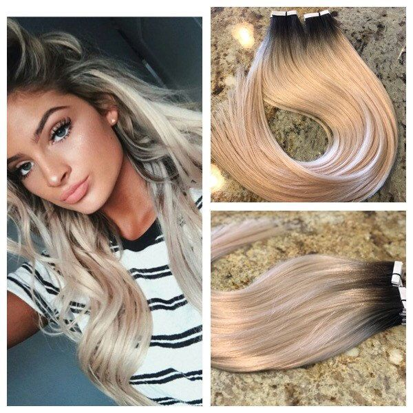Full Cuticle Remy Double Drawn Balayage Ombre Tape-in Seamless weft 20″ Hair Extensions Rooted Platinum 40pcs