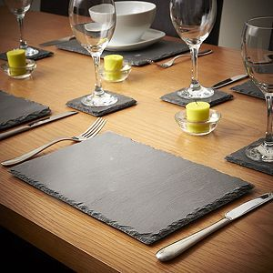 Tesco direct: VonShef Set of 4x Coasters & 4x Placemats Natural Slate