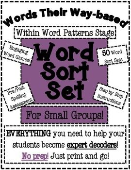 Implementing Words Their Way is super easy with these Word Sort Sets!  There is NO PREP, just print the set and you have a set to model and two student practice sheets ready to go.  There is a lesson plan with step by step instructions included as well!Use these sets for word study, during guided reading lessons or on their own.