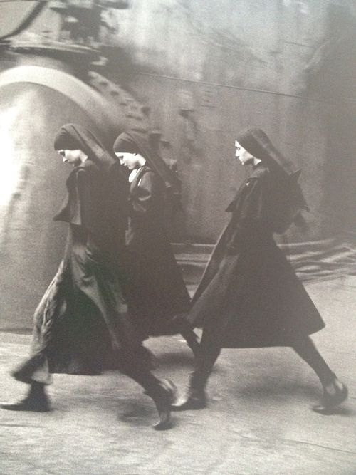 Nuns in habit | long strides, likely never late