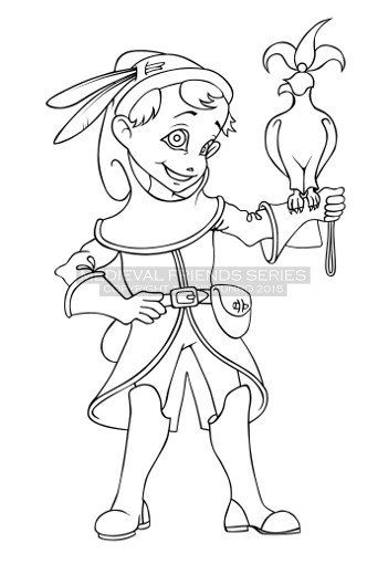 """Coloring Page - Medieval Friends """"Fun Falconer"""""""