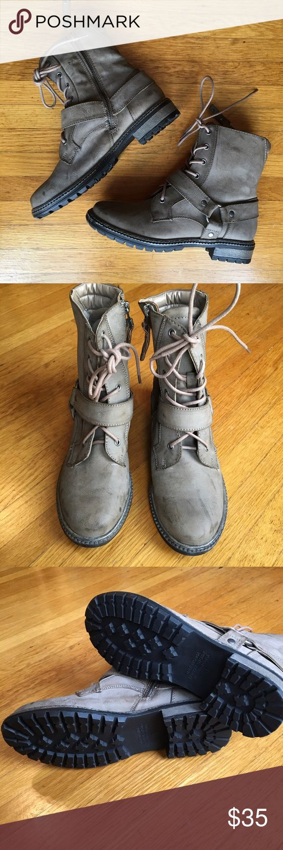 American Eagle Tan Harness Military Boots NWOT! Never worn! Women's American Eagle Outfitters size 6.5 tan, distressed harness military boots. Great with leggings to show off the lace-up and harness details but with a side zipper for easy off and on. American Eagle Outfitters Shoes Combat & Moto Boots