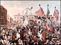Peterloo Massacre -Political-  Painting by George Cruikshank in 1819 → A crowd of 60,000 were gathered in St. Petersfield, Manchester to hear a speech by Henry Hunt. They were there to protest against the gov't because fewer than 2% of the population could vote and many people were hungry becuase of the corn laws which made bread very expensive. The authorities came in and 11 people were killed and 400 were injured.