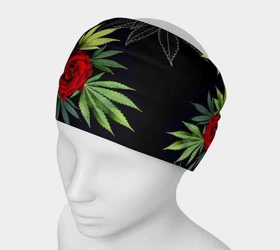 #Yoga #Headband #Floral #Hairband #RedRose #Marijuana #Leaf #ganja