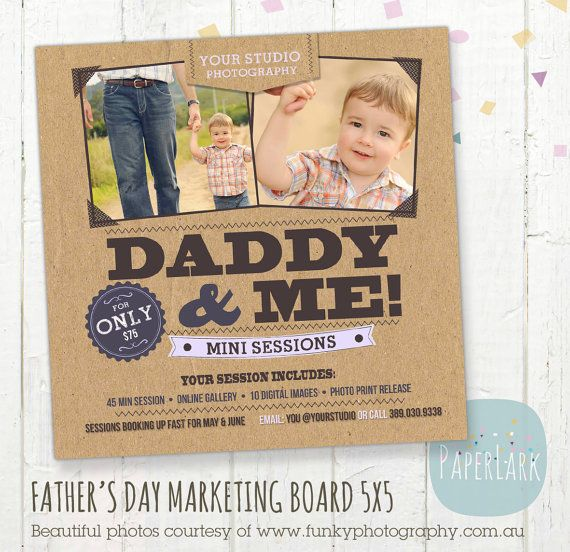 Father's Day Mini Session template  Photoshop  by PaperLarkDesigns, $8.00