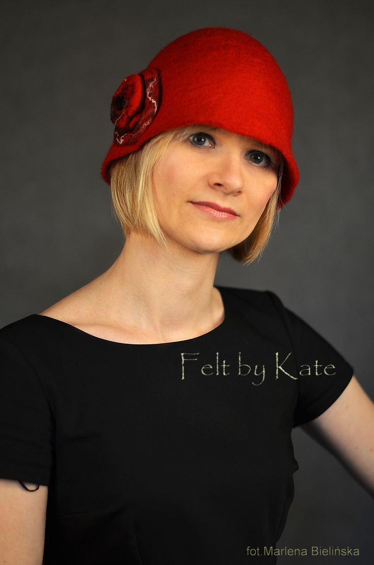 "Merino wool wet felted red hat - ""Felt by Kate"" https://www.facebook.com/FeltbyKate/"