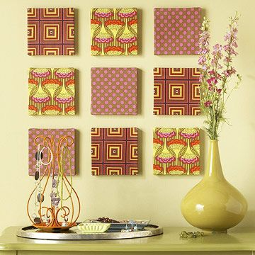 Cute Idea  Fabric Wall Art: Trio Of Fabric Covered Wall Plaques. 6x6 In Part 85