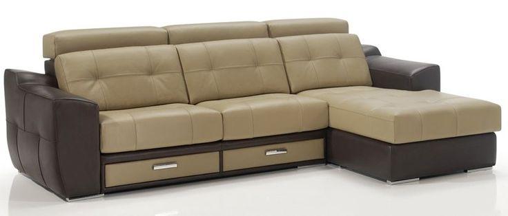 Sofá chaiselongue 310 cm. con 2 cajones de almacenamiento y cabezales reclinables.