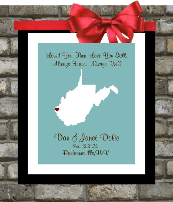gifts for map lovers any state art print unique west virginia wedding ...