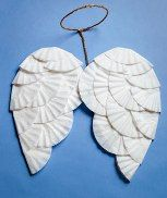 angel wings made from coffee filters.