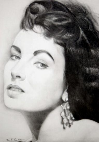 Charcoal Portraits Elizabeth Taylor