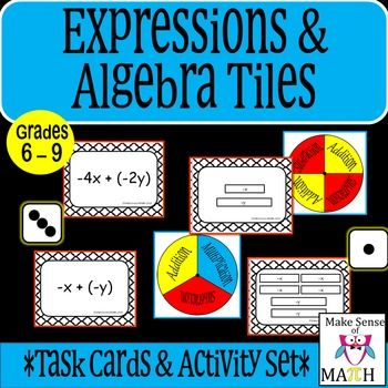 These expression and algebra tiles task cards and activity set are perfect for…