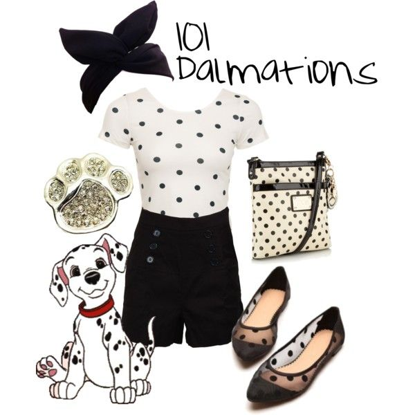 101 Dalmations by disneywithalicia on Polyvore featuring Glamorous, Floozie by Frost French, Fantasy Jewelry Box, Disney, disney, disney fashion and 101 dalmations